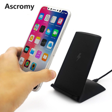 Ascromy QI Wireless Charging Station Transmitter For Apple iPhone 8 X 10 Samsung Galaxy S8 Plus Q1 induction Charger Stand Dock(China)