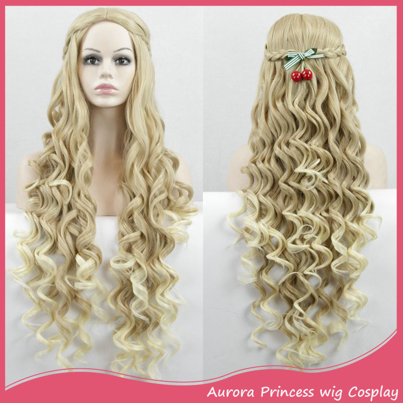 Cosplay Wig Game of Thrones Natural Long Curl Wavy Blonde Color with Braids Daenerys Targaryen Jon Snow Cersei Lannister Anime <br><br>Aliexpress