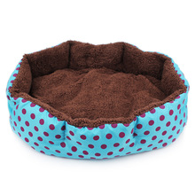 Hot Winter Warm Pet Dog Bed Soft Fleece Dot Design Pet Nest With Removable Pet Mat Octagon Shape Kennel Cat Puppy Free Shopping(China)