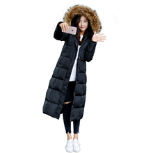 Winter women's lengthen thickening long paragraph over-the-knee ultra slim large fur collar down coat female plus size