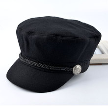 2016 spring women's newsboy caps for men woolen 100% octagonal Cap ladies Unisex Retro flat hat boina Flat cap(China)
