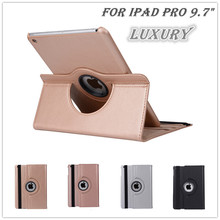 "new tyrant gold table case cover for apple iPad Pro 9.7"" case pu leather flip smart stand 360 rotating brand case cover+1pc Film"
