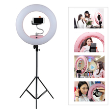 "FD-480II 17.7"" LED Ring Light 96W Dimmable 3200-5500K LED Lamp Video Light with 2m Light stand +Smartphone Holder + 1/4"" Adapter"