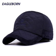 2017 EAGLEBORN Men Winter Baseball Caps fashion Knitted Plaid cotton thicken winter cap hats Earflaps Adjustable Casquette