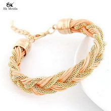 19*13mm Fashion Woven Hollow Charm Bracelet Women Handmade Bracelets Metal And Leather Mix Jewelry Wholesale ZB-20
