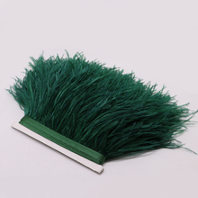 high quality real ostrich feather trims for skirt/dress/costume dark green ostrich feather trimming wholesale(China)