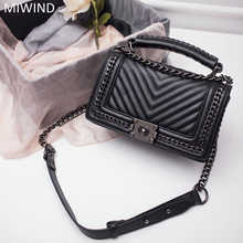 MIWIND New Sale Women Metal Chain Shoulder Bags Genuine Leather Small Handbags V Thread Stripes Crossbody Messenger Bags Girls(China)