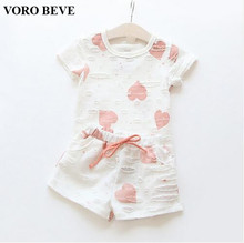 VORO BEVE Fashion 2017 New summer girl clothing set children girl 2 piece pattern children set vestidos