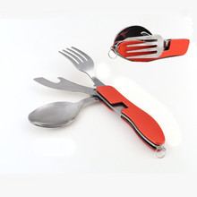4 in 1 Folding Dinnerware Set Portable Stainless Steel Camping Picnic Cutlery Knife Fork Spoon Flatware Travel Tableware