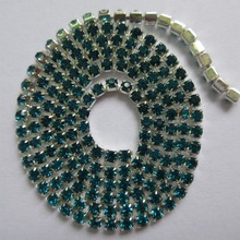 Strass Glass Crystal dark aquamarine Rhinestones Diamante Claw Cup Chain Trims Trimming Silver Base DIY for phone,cup,clothes(China)