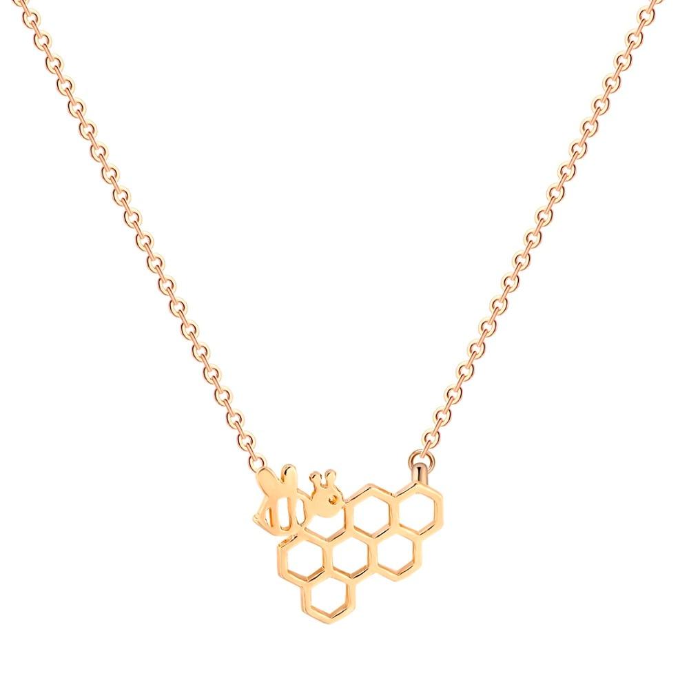 QIAMNI-Geometric-Polygon-Molecular-Cute-Honeycomb-Beehive-Hive-Bee-Honeybee-Animal-Pendant-Necklace-Christmas-Gift-for