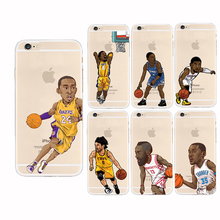 For coque iPhone 5S case 5 SE 5C 6 6S Plus Basketball star Kobe Bryant Jordan Soft TPU cover for fundas iPhone 6S case Capa