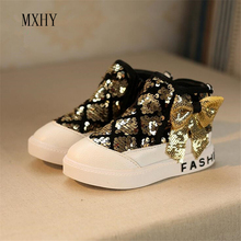 MXHY 2017 autumn winter brand boots boys girls high top sneakers girls Fashion Sequin Bow princess shoes kids High-top sneakers