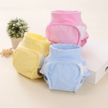 1PC Reusable Nappies Cloth Diaper Cover Waterproof Cover Diaper Solid Color 100% Cotton Baby Cloth Diapers(China)