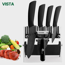 "Kitchen knives Ceramic Knives Cook Set 3"" Paring 4"" Utility 5"" Slicing 6"" chef Knife+Holder+Peeler Sharp Black Blade"