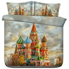 6 Parts Per Set Bed Sheet Set Beautiful Russian St Basils Cathedral 3d Bedding Set