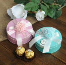 2017 graceful decorative wedding favors round candy tin box &Free custom name and date