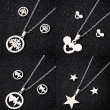 Tier Maus Cartoon Mickey Halsketten Ohrringe für Frauen Kinder Gold Halskette & Anhänger Schmuck-Set Mädchen Weihnachten Geschenke Bijoux(China)