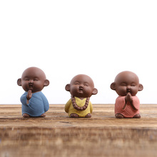 Monk Figurines Purple Clay Tea Pet The Little Monk Buddha Boutique Purple Sand Pottery Tea Tray Decoration Home Decortion