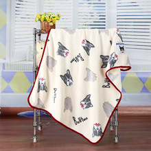 Coral Fleece Warm Bulldog Print Pet Bed Mats House Soft Blankets Cover for Small Medium Large Cats Dogs