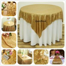 Gold Sequin Tablecloth Round Wedding Tablecloth 50'' Round Glitter Tablecloth for Weddings