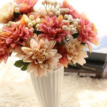 Artificial Dahlia Flower Silk Flowers With Artificial Berry Artificial Flower Bouquet For Wedding Fake Flowers Bridal Bouquets