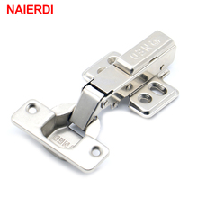 NAIERDI Hinge Rustless Iron Hydraulic Hinge Iron Core Damper Buffer Cabinet Cupboard Door Hinges Soft Close Furniture Hardware(China)