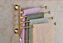 Wholesale And Retail Movable Bath Towel Bar Bathroom Towel Bars Holders Golden Polish 4 Bars Wall Mounted