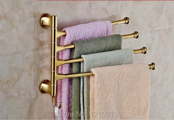 Wholesale And Retail Movable Bath Towel Bar Bathroom Towel Bars Holders Golden Polish 4 Bars Wall Mounted<br><br>Aliexpress