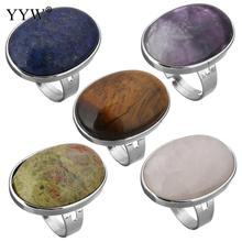 YYW Punk Oval Geometric Women Men Unisex Finger Ring Natural Tiger Eye Clear Quartz Lapis Lazuli Opal Rose Stone Full Mid Rings(China)