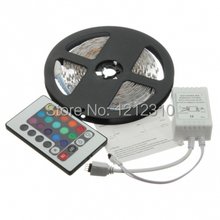 Non-waterproof 12V 5050 LED Strip Light 60LEDs/M 5M/Roll+72W Adapter ,only RGB/Changeable with24Keys IR Controller,Free Shipping