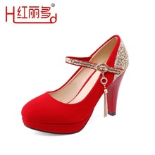 women black pump 33 41 42 43 small big size red round thin high heels wedding shoes ladies rhinestones bridesmaid bridal shoes