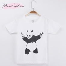 2018 New Products Children T-shirt Animal Panda Funny Top Cotton Child Shirt Boy Short T Shirts For Baby And Girl Kids Clothes(China)