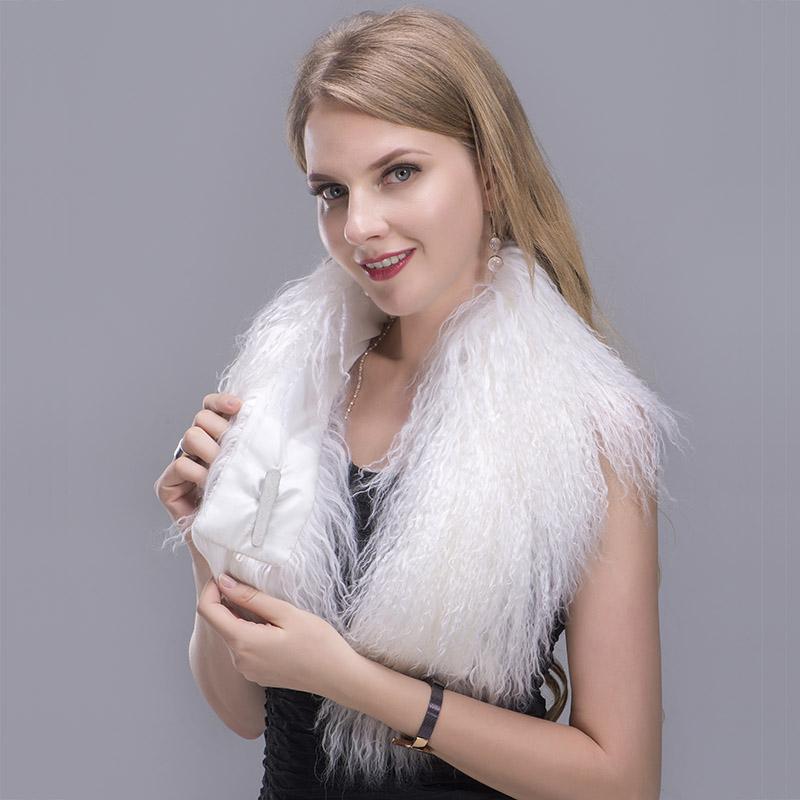 tibet lamb fur scarf white 4