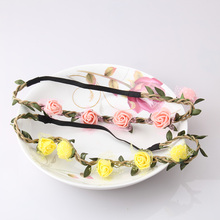 Lovely Design Floral Headband Women Rose Flower Hair Accessories Girls Flower Adjustable Hair Band Elastic Flower Headband(China)