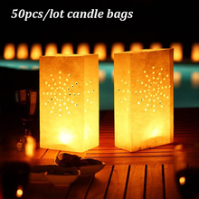 50 pcs/lot Sunshine Tea Light Holder Luminaria Paper Lantern Candle Bag For Christmas Party Outdoor Wedding Decoration 2016 New