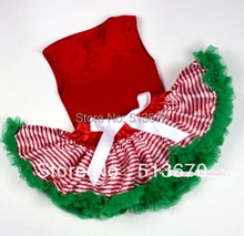 Red Baby Pettitop &Red Rosettes with Red White Striped mix Christmas Green Newborn Pettiskirt MANG1066(Hong Kong)