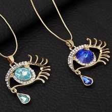 Blue Eyes Angel Tears Synthetic Crystal Necklace For Girls Gold-color Sweater Long Chain Necklace Factory Outlets Jewelry