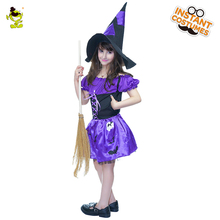 High Quality Girls Little Witch Costumes Purple Deluxe Enchantress Outfit Kids Sorceress Decoration Sets for Party Kids Girls(China)