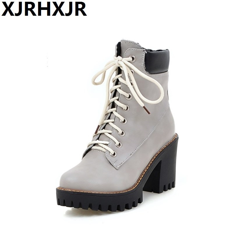 XJRHXJR Fashion Spring Autumn Platform Ankle Boots Women Lace Up Thick Heel Martin Boots Ladies Worker Boots Black Size 33-43<br>