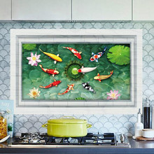 3D Fish Ponds Wall Stickers Kitchen Bathroom Bedroom waterproof Background Home Decor Removable Decoration Accessories Supplies(China)