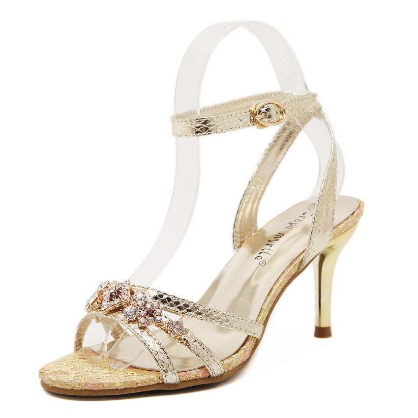 New Women Pumps 7cm High Heels Sexy Ladies Crystal Stilettos Shoes Buckle Strap Dress Sandals 8<br><br>Aliexpress