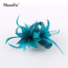 ShanFu Ladies Small Sinamay Fascinator  Flower Feather Fascinators Clip Corsage  For Wedding Party SFB7092 Wholesale12pcs/lot