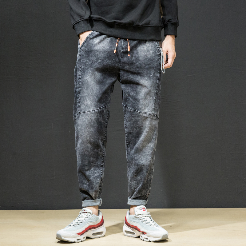Fashion 2019 Spring New Men Jeans Plus Size Loose Jeans Harem Pants Mid Waist Patchwork Design Denim Pants Men Clothes Black 42