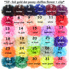 80 pcs/lot total 32colors of 10CM Shiny Golden polka-dots Chiffon Flower with ribbon double prong hair clip