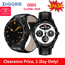 Diggro DI05 512MB+8GB Smart Watch MTK6580 Bluetooth 4.0 Support 3G NANO SIM Card WIFI GPS 1.39inch AMOLED Smart Watch VS KW88(China)