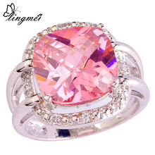 lingmei Gorgeous Fashion Lady Princess Cut Pink White CZ Silver Color Ring Women Jewelry Size 7 8 9 10 Free Shipping Wholesale