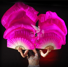 Real Silk Long Fan Veil For Belly Dance Thicker Oriental Dancing Veil Fan Right Left Hand 180cm Rose