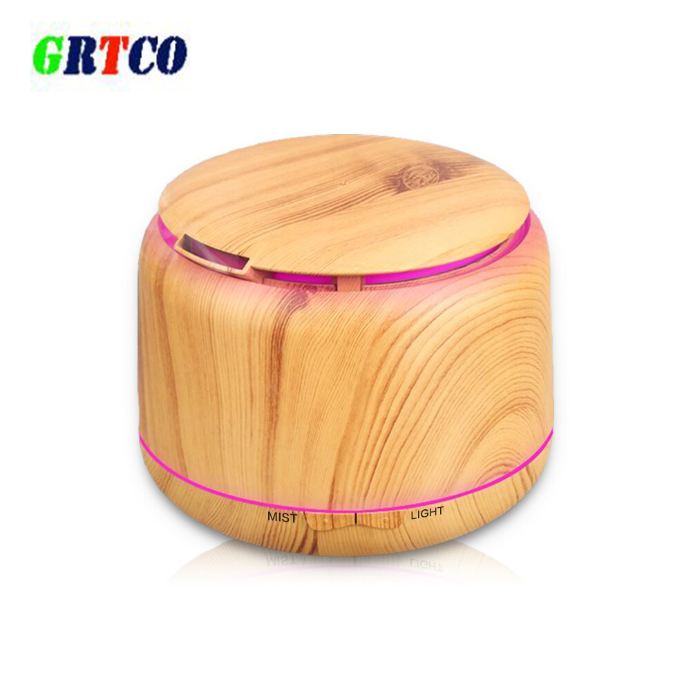 GRTCO 300ML Wooden Grain Ultrasonic Air Humidifier LED Light Essential Oil Aroma Diffuser Aromatherapy Home Office Mist Maker<br>