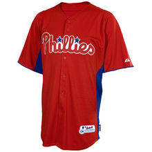 MLB Men's Philadelphia Phillies Baseball Red Alternate Youth Cool Base Batting Practice Jersey(China)
